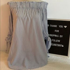 H& M Off the Shoulder Striped Blouse- Size 4 Small